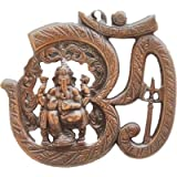 Om Gyatri Wall Hanging Of Lord Ganesha On Swastik With Om Showpiece