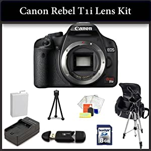 """Canon EOS Rebel T1i Digital SLR Camera Kit. Package Includes: Canon T1i(Body Only), 8GB Memory Card, Memory Card Reader, Extended Life Replacement Battery, Rapid Travel Charger, 50"""" Tripod, Table Top Tripod, LCD Screen Protectors, Large Carrying Case."""