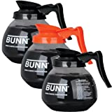 BUNN Coffee Pot Decanter / Carafe - Set of 3 - 2 Black Regular + 1 Orange Decafe - 12 Cup Capacity