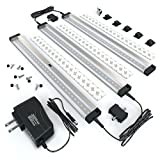 EShine 3 Panels LED Under Cabinet Lighting, with IR Sensor! Hand Wave Activated - Bright, Strong and Stable - Easy to Install, Screw and 3M Sticker Options Included - Deluxe Kit, Warm White