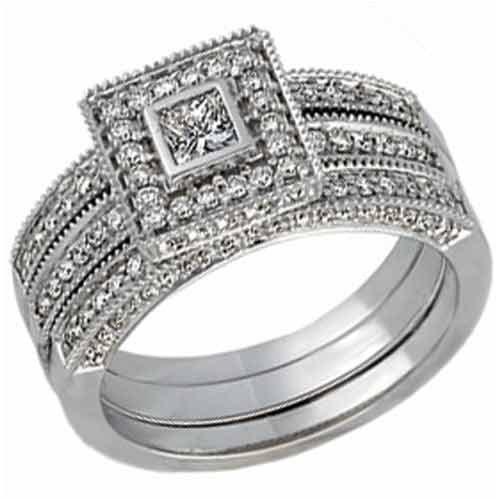 14K White Gold Pre Set Diamond Bridal Ring Set (3-piece ring set)