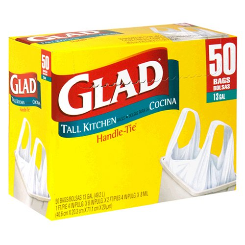 Glad Handle Tie Tall Kitchen Bags, White, 13 Gallon, 50-Count Bags, (Pack of 4)