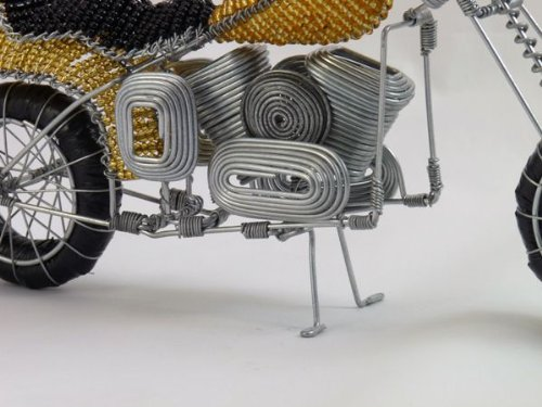 "Wire art ""Motorcycle "", gold"