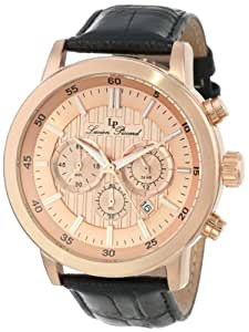 Lucien Piccard Men's 12011-RG-09 Monte Viso Chronograph Rose-Gold Tone Textured Dial Leather Band Watch