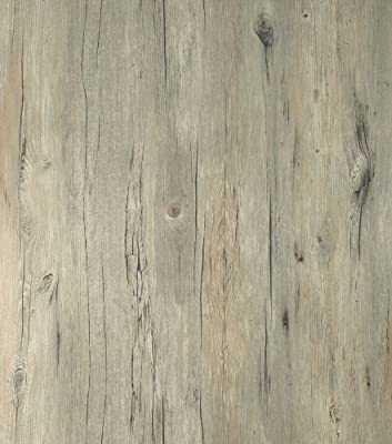 Peel & Stick Self-adhesive Wood Pattern PVC Flooring [RFS-02 Antique Light Oak : 95cm(3.11 ft) X 200cm(6.56 ft)] Non-toxic Floor Reform Contact Paper Shelf Liner