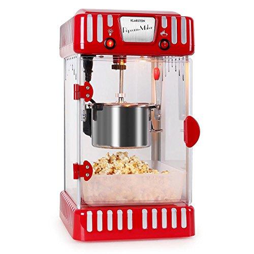Klarstein Volcano - Machine à pop corn style rétro avec bol amovible de 74mL (bras melangeur, eclairage interieur, receptacle a pop-corn facilement lavable) - rouge