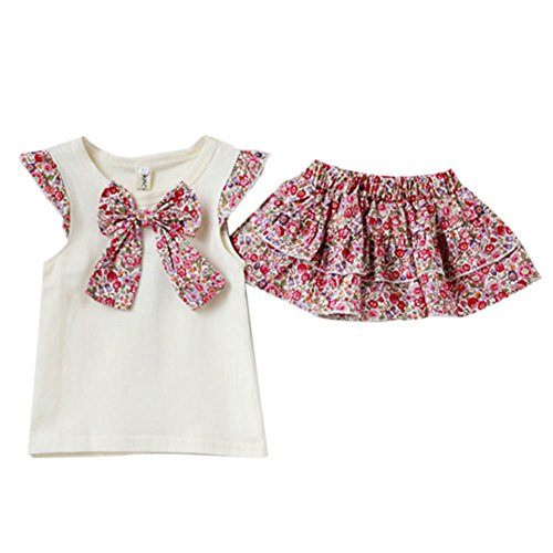 Wxbuy Kids Girls 2Pcs Flowers Bow-Knot Tops+Ruffle Culottes Set Outfits M front-313330