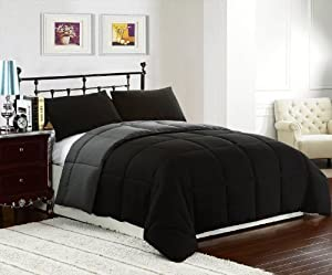Cozy Beddings Reversible Comforter Set, 3-Piece, Queen/Full, Black/Grey