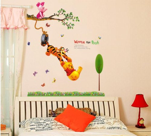 large winnie the pooh wall art sticker removable baby bedroom wall sticker decoration child party holiday decorative mural kid's room art wallpaper decal