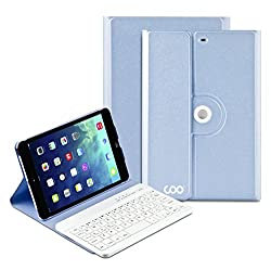 Coo iPad Mini 1 2 3 Keyboard Case with Removable Bluetooth Keyboard and 360 Degree Rotation Multi-Angel Stand(Sky Blue)