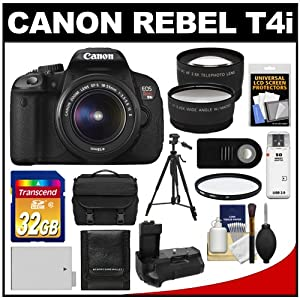 Canon EOS Rebel T4i Digital SLR Camera Body & EF-S 18-55mm IS II Lens with 32GB Card + Case + Battery + Grip + Tripod + Wide Angle & Telephoto Lenses + Remote Kit