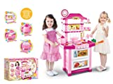CHILDRENS KIDS KITCHEN COOKING ROLE PLAY PRETEND TOY COOKER GAME INTERACTIVE EARLY LEARNING BBQ CLEANING SUPERMARKET TOOL SET BUILDER TILL TEA TROLLEY LIGHTS & SOUND (Pink Kitchen 60218)
