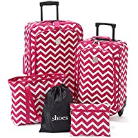 TravelQuarters Chevron 5-Piece Luggage Set (Pink)