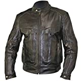Xelement Mens Retro Brown Bandit Buffalo Leather Cruiser Motorcycle Jacket with - X-Large