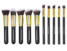 Nestling10 PCS Premium Professional Kabuki Makeup Brush Set Cosmetics Foundation Blending Blusher Eyeliner Eyeshadow Face Powder Brush Tool Kit (Golden Black)