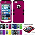 myLife Black and Magenta - Classic Series (Neo Hypergrip Flex Gel) 3 Piece Case for iPhone 5/5S (5G) 5th Generation Smartphone by Apple (External 2 Piece Fitted On Hard Rubberized Plates + Internal Soft Silicone Easy Grip Bumper Gel)