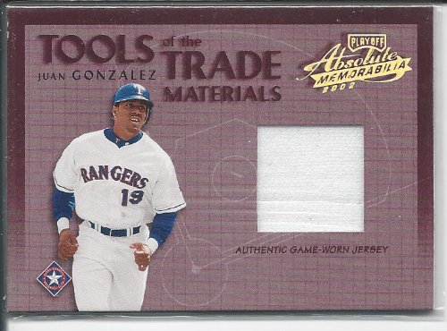 2002 Absolute Memorabilia Tools of the Trade Materials JSY #TT-20 Juan Gonzalez - Texas Rangers (Piece of Authentic Jersey - Serial #d to 300) (Baseball Cards) at Amazon.com