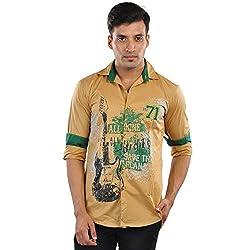 CREEDS Men's Cream Cotton Casual Shirt(Medium)