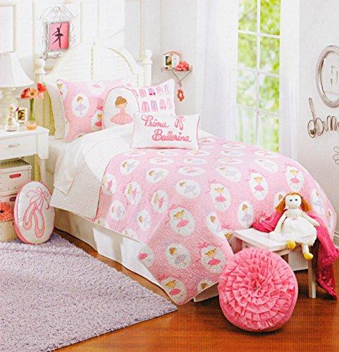 Toddler Bedding Set Ballerina 2pc Quilt Set Purple Pink Cotton, Girly Bedding Twin Quilt & Sham Set Reversible to Polka Dot - 1