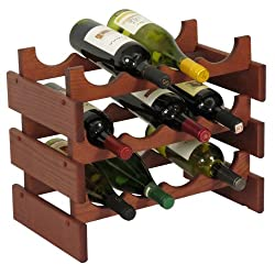 Wooden Mallet WR43 12 Bottle Dakota Wine Rack, Mahogany