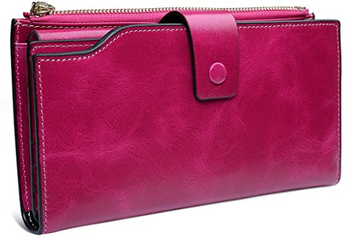 Yaluxe Women's Large Capacity Luxury Wax Genuine Leather Wallet With Zipper Pocket (Gift Box) Rose Red