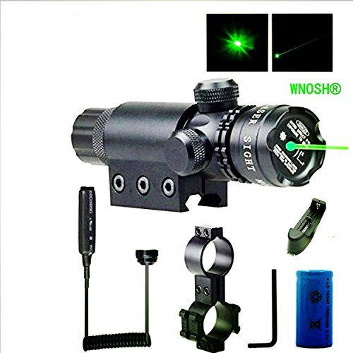 WNOSH Adjustable Shockproof 532nm Tactical Green Dot Laser Sight Rifle Gun Scope w/ Rail & Barrel Mount Cap Pressure Switch Battery Charger Include (Tactical Gun Case For Ar 15 compare prices)