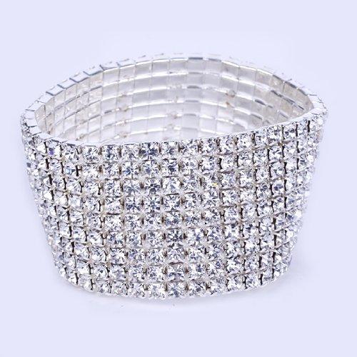 Aokeshen 1pc 8 Rows Minimum Inner Dia.5.5cm Diamante Elastic Vegas Rhinestone Korean Fashion Stretchy Silver Plated Bangle Cuff Bracelet Wristband Wedding Bridal Pub Gift Engagement
