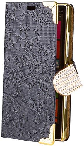 iCues AD70 - Custodia cromata con Strass, apertura a libro, per Nokia Lumia 930, nero