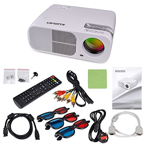 Proiettore LED Full HD,Kuman H2 Bianco Videoproiettore Multimediale 800x600 2600 Lumens Home Cinema Theatre PC Laptop Telefono Supporto HDMI UAB AV VGA TV YPbPr 2 cavo 2USB