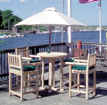 Tidewater Workshop White Cedar Outdoor Bar Dining Table