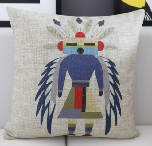 Carton Indian Tribes Fish Animal Style Carton Cushion Cover Pillow Case front-979292