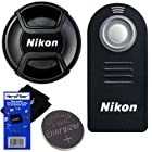Nikon ML-L3 Wireless Remote Control for D40, D40X, D50, D60, D70, D70S, D80, D90, D600, D610, D3000, D3200, D5000, D5100, D5200, D5300, D7000, & D7100 SLR Digital Cameras + Nikon LC-52 Snap on Front Lens Cap + Replacement Battery for Remote & HeroFiber® Ultra Gentle Cleaning Cloth