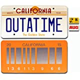 Back to the Future / Delorean / OUTATIME + 2015 *METAL* Vanity Prop License Plate Combo