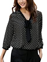 Allegra K Women Tie-Bow Neck All Over Dots 3/4 Sleeve NEW Leisure Blouse
