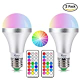 NetBoat LED Color Changing Light Bulb with Remote Control,10W E26/E27 RGB+Daylight White LED Bulbs Dimmable with Memory Function,Ideal Lighting for Home Decoration,Stage,Bar,Party,2-Pack