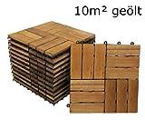 SAM® Terrassenfliese 02 aus Akazie-Holz, 110er Spar-Set für 10 m², Garten-Fliese 30 x 30 cm, Balkon Bodenbelag mit Drainage, Klick-Fliesen für Balkon Garten Terrasse, Terrassenbelag im Mosaik-Muster