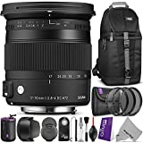 Sigma 884101 17-70mm f 2.8-4 Contemporary DC Macro OS HSM Lens for CANON DSLR Cameras w Advanced Photo and Travel Bundle
