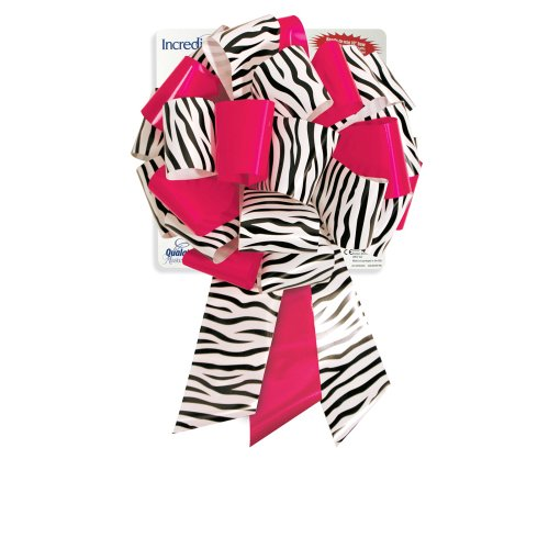 "Qualatex MasterBow 10"" Zebra/White and Fuchsia Pre-Made Bows"