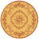 """Safavieh Courtyard Collection CY1893-3201 Natural and Terra Round Area Rug, 5 feet 3 inches in Diameter (5'3"""" Diameter)"""