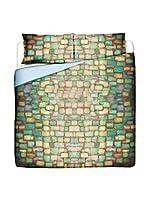 FOOL COLORS by MANIFATTURE COTONIERE Juego De Funda Nórdica Mosaic (Turquesa/Lila)