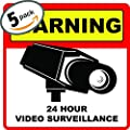 5 PACK of: Warning 24 Hour Video Camera Surveillance Security Sign ? Hidden Cctv Window Decal ? Protection for Business / Home Security Signs