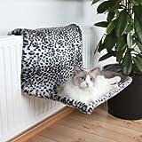 Katze Liegemulde für Heizkörper, Plüsch, Schneeleopard, 58 × 30 × 38 cm, Hängematte