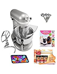 KitchenAid KP26M1XNP Professional 600 Series 6 Quart Bowl-Lift Stand Mixer in Nickel Pearl + Kamenstein Mini Measuring Spoons Spice Set +... by KitchenAid
