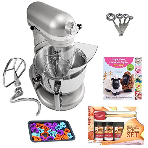 KitchenAid KP26M1XNP Professional 600 Series 6 Quart Bowl Lift Stand Mixer  In Nickel Pearl Kamenstein Mini