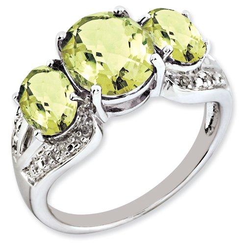 Sterling Silver Lemon Quartz & Diamond Ring