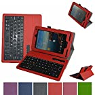 Mama Mouth 7 Verizon Ellipsis 7 4g LTE Tablet Bluetooth Keyboard case--Coustom Design Slim Stand PU Leather Case Cover With Romovable Bluetooth Keyboard For 7 Verizon Ellipsis 7 4g LTE Tablet Red