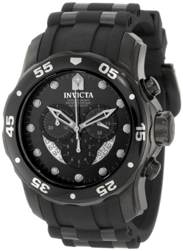 Invicta Men's 6986 Pro Diver Collection Chronograph Black Dial Black Polyurethane Watch