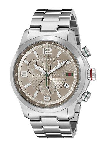 Gucci  YA126248 - Reloj de cuarzo para hombre, con correa de acero inoxidable, color plateado