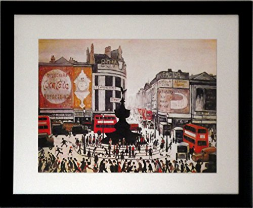 Stateoftheart-uk - Stampa di foto, tema: Piccadilly Circus, misura media, Black Frame With Soft White Mount And Large Image, 20 x 16inch