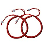 Skyflying 2PCS Cotton Red Line Lucky Love Chain Kabbalah Adjustable Bracelet Ankle ChainProtection Faith Unisex (Color: red)